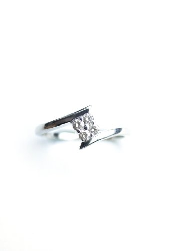 0.20Carat Four Stone White Round I1-I2 Diamond Promise Ring .925 Sterling Silver