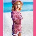 ベビー ラッシュガード 水着 パンツスーツ ラズベリー 水玉フリル 1-2歳 80 - 90 UVカット UPF50