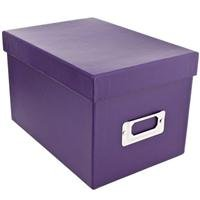 Pioneer Photo CD & DVD Storage Box with Solid Color Exterior, Holds 21 CDs & 10 DVDs (Bright Purple)