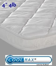 4 Inch, 4Lb. Pillow-Top Mattress Cover Pad Topper Overlay With Cool Max® Fabric - Includes Pillow , Queen