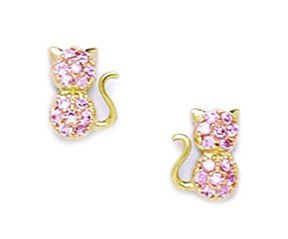 14ct Yellow Gold Pink CZ Cat Screwback Earrings - Measures 8x6mm