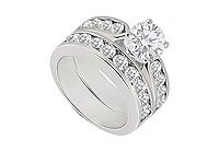 Diamond Engagement Ring with Wedding Band Sets 14K White Gold 1.00 CT TDW MADE IN USA