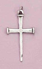 Sterling Silver Cross of Nails Pendant, 1-5/8 inch tall