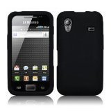 Samsung Gt-S5830 Galaxy Ace - Phone Protection - Black Silicone Case Skin Pouch Cover + 2 Custom Fit Screen Protectors. Uk-Goods