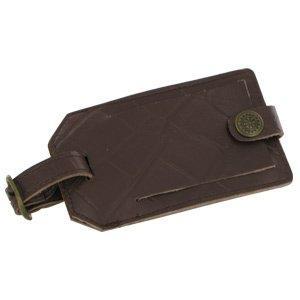 Travel Smart Embossed Genuine Leather Luggage Tag (Black)