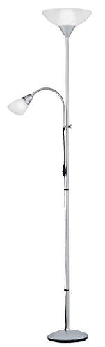 Reality Leuchten R4393-87 - Piantana con braccio per lettura, 1x E27 + 1x E14, colore: Argento/Bianco