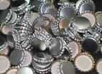 Silver Colored Polished Beer Bottle Caps (approximately 144 caps)