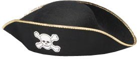 Adult Pirate Costume Hat with Gold Trim