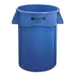 * Brute Vented Trash Receptacle, Round, 44 Gal, Blue front-450435