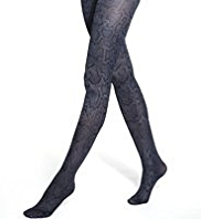 Marl Faux Snakeskin Print Tights