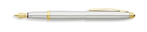 franklin-covey-lexington-fountain-pen-with-medium-nib-polished-chrome-with-gold-appointments-by-cros