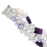 Amethyst Clear Acrylic Beads Pearl Bracelet - 8.5 Inch - Toggle - JewelryWeb