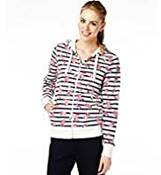 Cotton Rich Floral & Striped Tracksuit Sweat Top