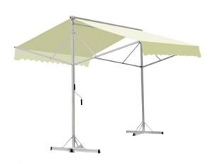 Store double pente blanc ivoire jardin - Store parasol double pente ...