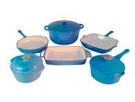 Le Chef 9-Piece Enamel Cast Iron Blue Cookware Set.