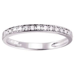 So Chic Jewels - 9k White Gold 0.10 ct Diamond 2 mm Half Eternity Wedding Band Ring