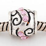 Charm Bead with pink stones will fit Pandora/Troll/Chamilia Style Charm Bracelet