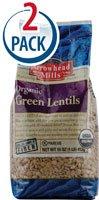 Arrowhead Mills Organic Green Lentils -- 16 oz Each / Pack of 2
