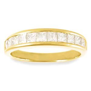 14k Yellow Gold, Princess-Cut Diamond Channel-Set Wedding / Anniversary Ring (G-H/VS, 0.75 ctw)