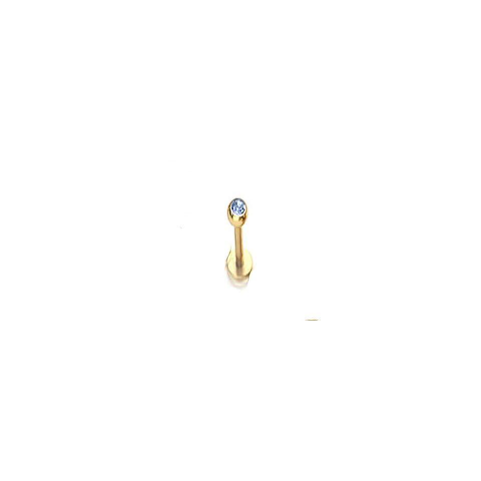 16g 5/16 3mm Blue Cz Gem Gold Plated Labret Lip Ring Chin Monroe L12
