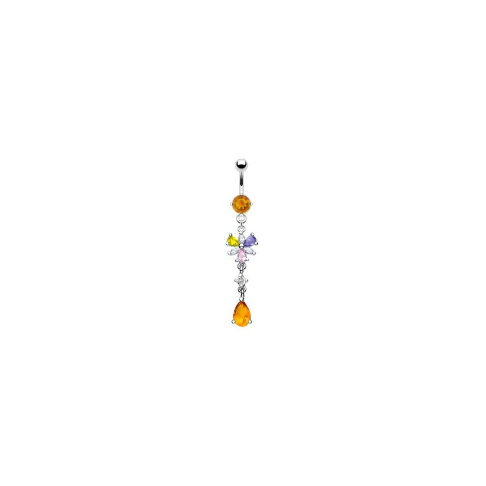 Citrine colored jeweled belly ring with dangling mulit color flower and citrine stone Jewelry