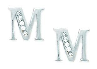 14ct White Gold CZ Large Initial M Earrings - Measures 10x9mm