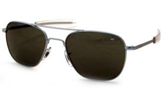 American Optical Original Pilot Eyewear 55mm Matte Chrome Frame with Bayonet Temples and True Color Gray Glass Lens