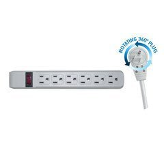 Surge Protector, Flat Rotating Plug, 6 Outlet, Gray Horizontal Outlets, Plastic, Power Cord 4 foot - Commercial wall Mount Suppressor Outlet Coax Swivel usb power strip wire (Power Strip Coiled Cord compare prices)