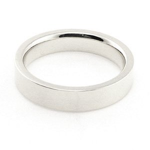 14K White Gold Men's & Women's Wedding Bands 4mm flat comfort-fit, 13
