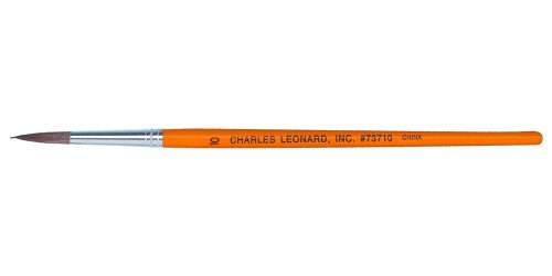 Charles Leonard Inc. Sabeline Water Color Brushes with Wood Handle, # 9, 0.87 Inch, White Bristles, 1 Dozen (73709)