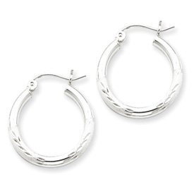 Genuine IceCarats Designer Jewelry Gift Sterling Silver Rhodium-Plated 2.50Mm Satin Diamond-Cut Hoop Earrings