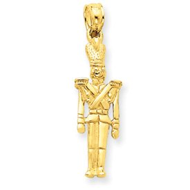 14k Solid Polished 3-Dimensional Toy Soldier Pendant - Measures 23x8mm - JewelryWeb