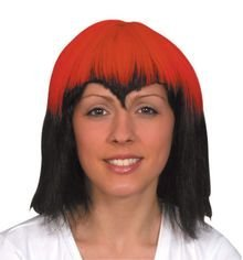 Zena wig with red section