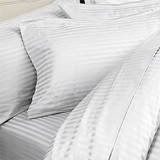 ITALIAN 1500 Thread Count 100% Egyptian STRIPED 4PC KING Sheet Set, WHITE