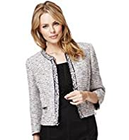 3/4 Sleeve Open Front Textured Jacket