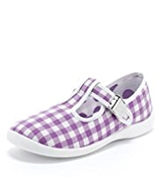 Gingham Checked Clasp Fastening T-Bar Plimsolls