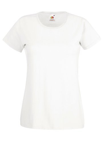 Fruit Of The Loom NEW Lady Fit Valueweight T-ShirtWhite M
