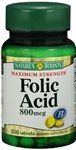 Natures Bounty Folic Acid 800 Mcg Tablets To Control Birth Defects - 250 Tablets (Pack Of 5)