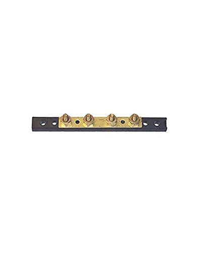 Sierra International FS40720 Hot Feed/Common Ground Brass Bus Bar with Four 8-32 Screw Terminals, 4.5″L x 0.5″W x 1″H