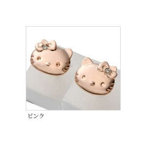 [Made in Japan] [Hello Kitty] [Sanrio official license] Kitty - 0 - Mimi simple face diamond earrings 'pink gold' [sanrio Hello Kitty HELLO KITTY»