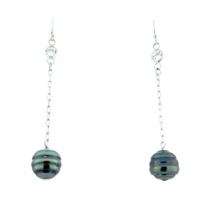 Elegantly Beautiful 925 Silver Dangler Earrings With Natrual Black Tahitian Pearls & CZ. Rhodium Polish