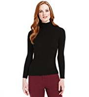 M&S Collection Polo Neck Ribbed Jumper