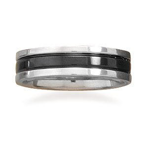 Stainless steel ring with black center.