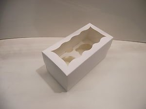 Occasions Quality Gift Boxes Pack Of 5 White Cupcake,Muffin,Fairy Cake Boxes - Holds 2 Cakes