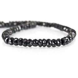 Black Tourmaline Beads Faceted Rondelle
