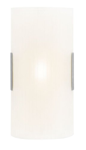 Access Lighting 62230-BS/LFR Neon 1-Light 8-inch Wall/Vanity Fixture, Brushed Steel Finish with Line Frosted Glass Shade