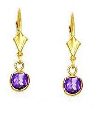 14ct Yellow Gold 5 mm Round Alexandrite-Pink CZ Drop Earrings