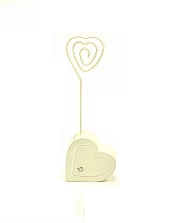 Ivory Heart with Rhinestone Placecard and Table Number Card Holder (pack of 10)