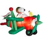 2011 7' Long Peanuts Snoopy Bi-Plane North Pole Airlines Animated Christmas Airblown Inflatable Schultz