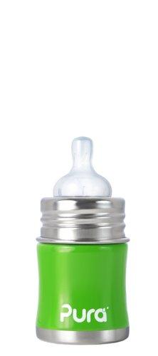 Pura Stainless Kiki Infant Bottle Stainless Steel, 5 Ounce, Spring Green front-83274